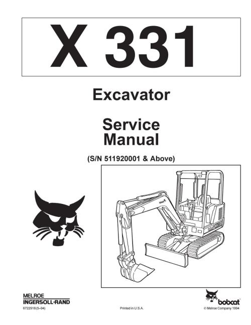 small resolution of bobcat 331 compact excavator service repair manual sn 511920001 above by jksemfmm issuu