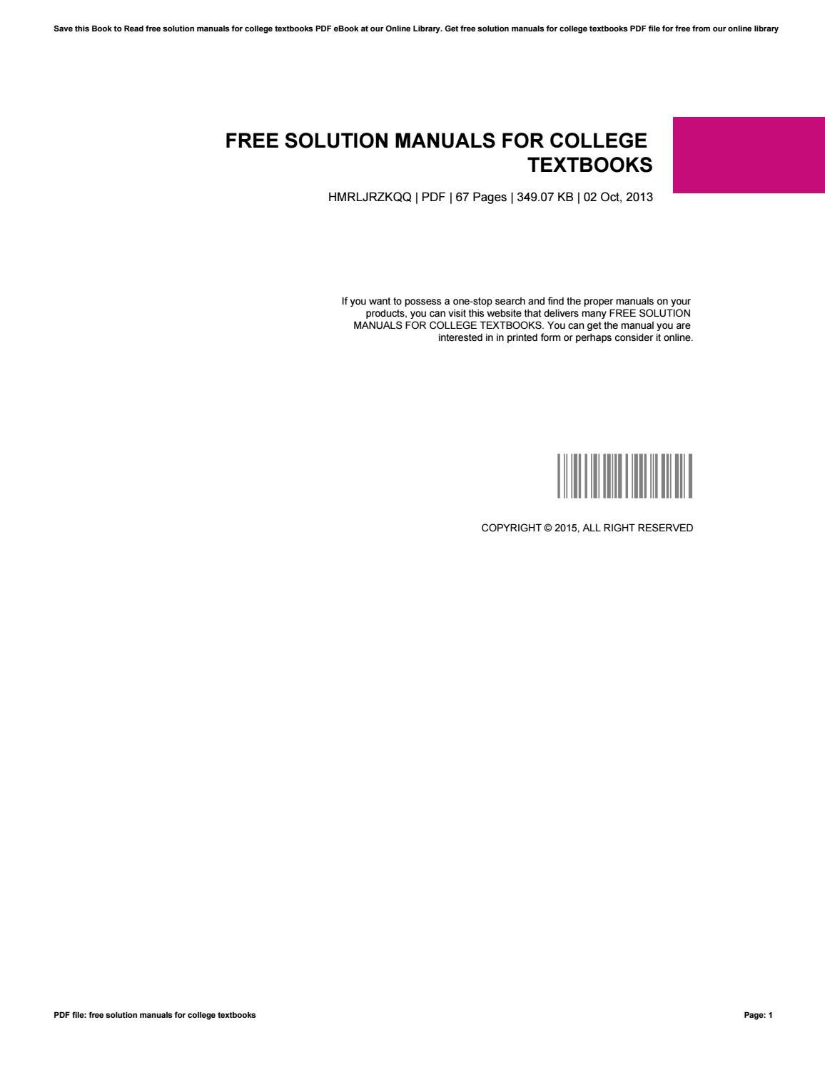 free solution manuals for