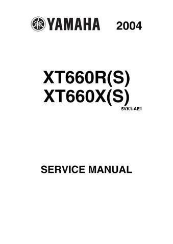 2004 yamaha xt 660 xt660 x(s) service repair manual by