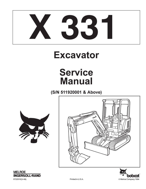 Bobcat 331 compact excavator service repair manual (sn