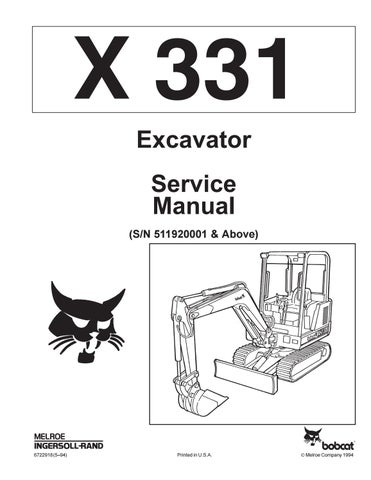 Bobcat 331 compact excavator service repair manual (sn