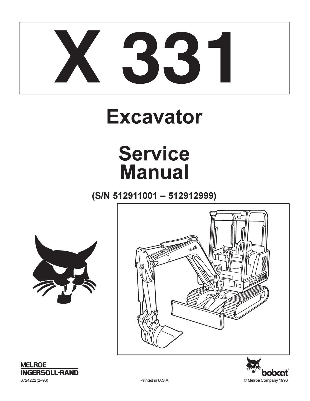 Bobcat 331 compact excavator service repair manual by