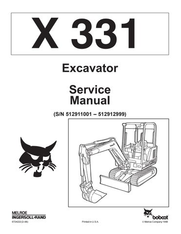 Bobcat 331 compact excavator service repair manual by