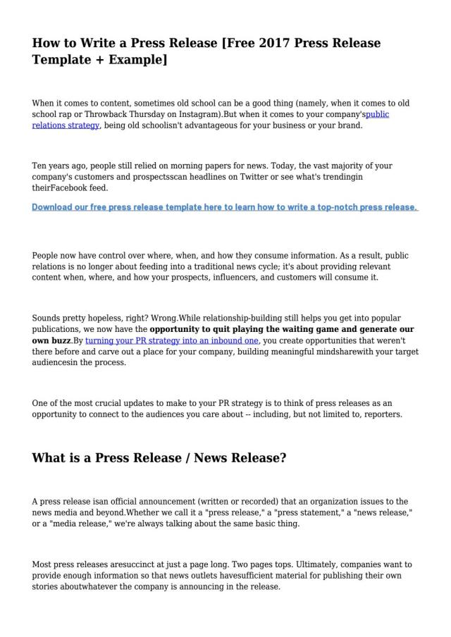 How to Write a Press Release [Free 13 Press Release Template +