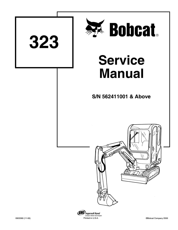 Bobcat 323 compact excavator service repair manual sn