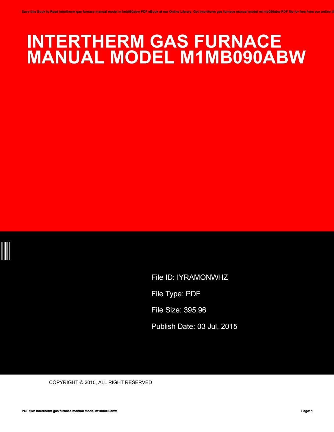 hight resolution of intertherm gas furnace manual model m1mb090abw by juanitanakamura3275 issuu