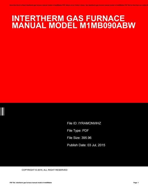 small resolution of intertherm gas furnace manual model m1mb090abw by juanitanakamura3275 issuu