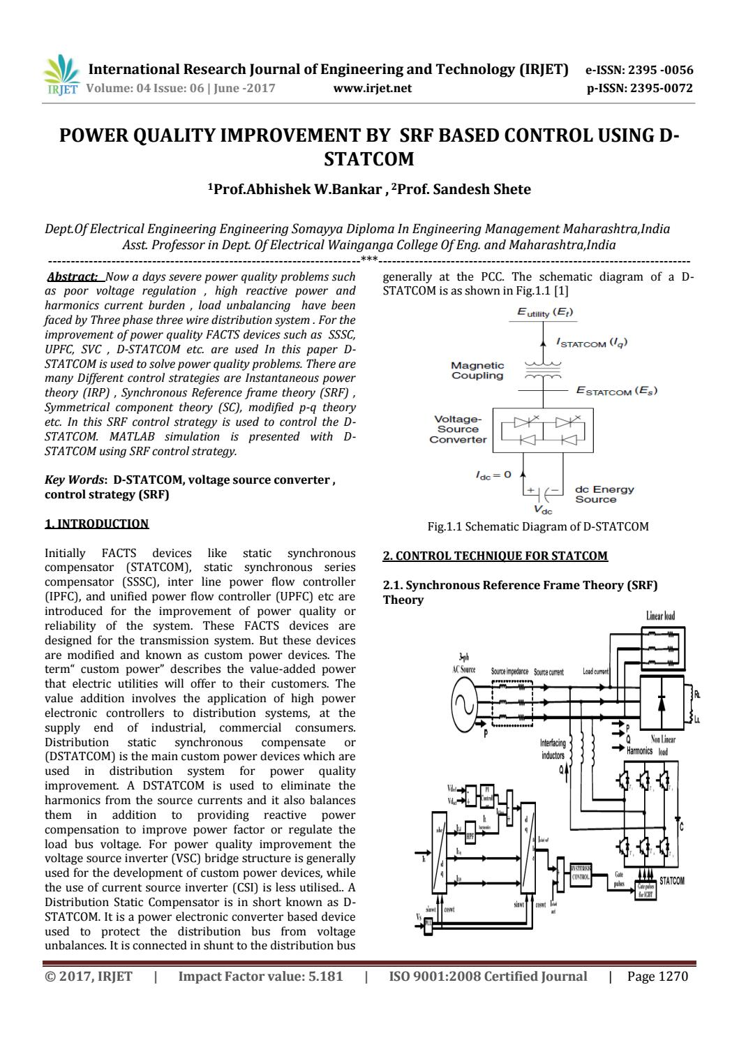 hight resolution of power quality improvement by srf based control using d statcom