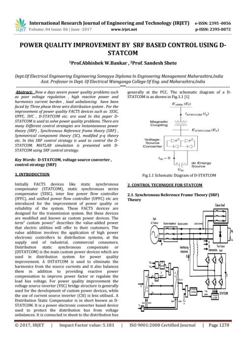 small resolution of power quality improvement by srf based control using d statcom