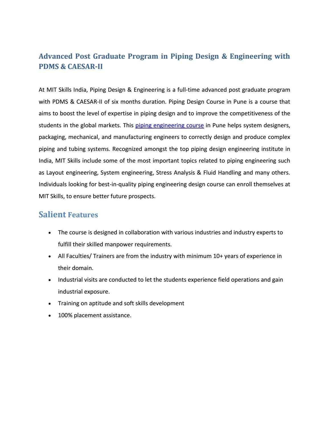 hight resolution of post graduate course in piping engineering mit skills pune by mit skills pune issuu
