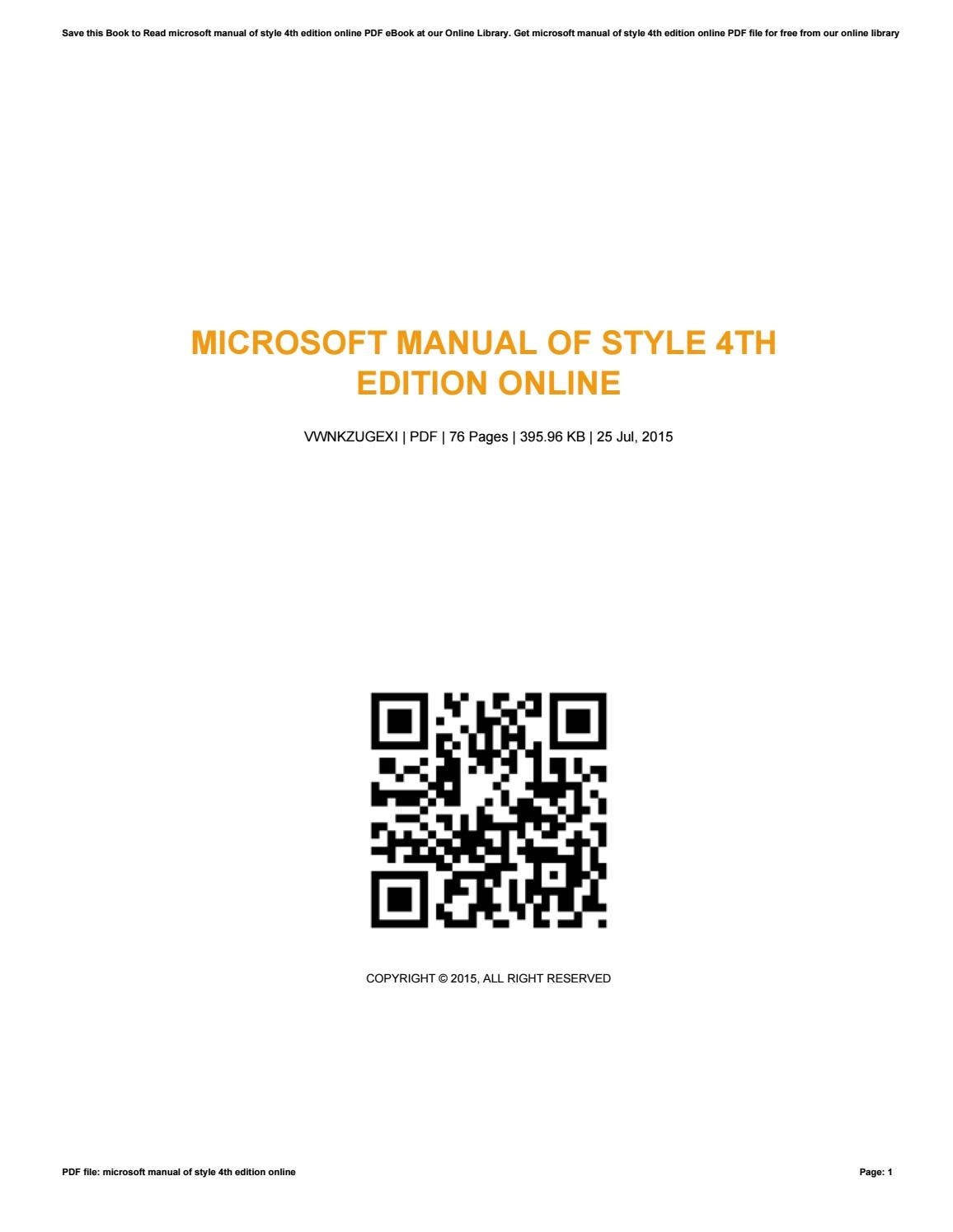 Microsoft manual of style 4th edition online by