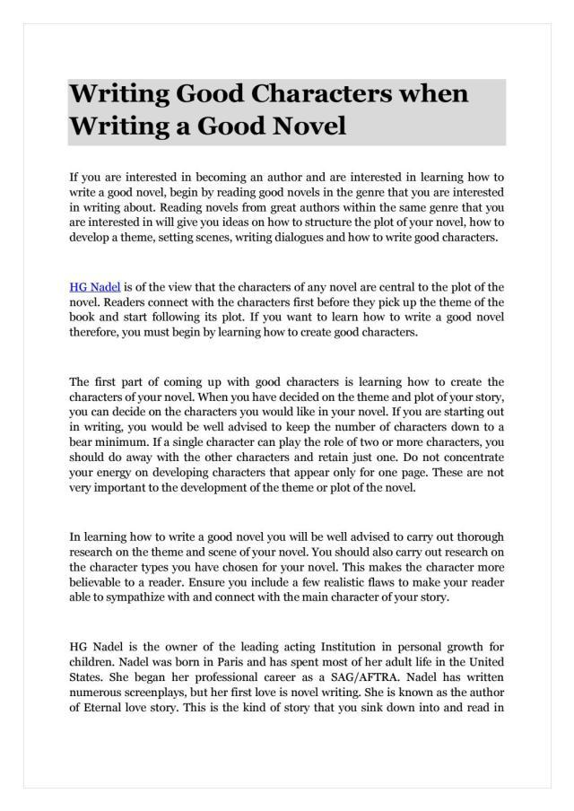 Writing Good Characters when Writing a Good Novel by Helene