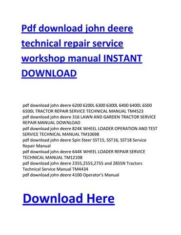 John Deere A Wiring Diagram Pdf Download John Deere Technical Repair Service Workshop