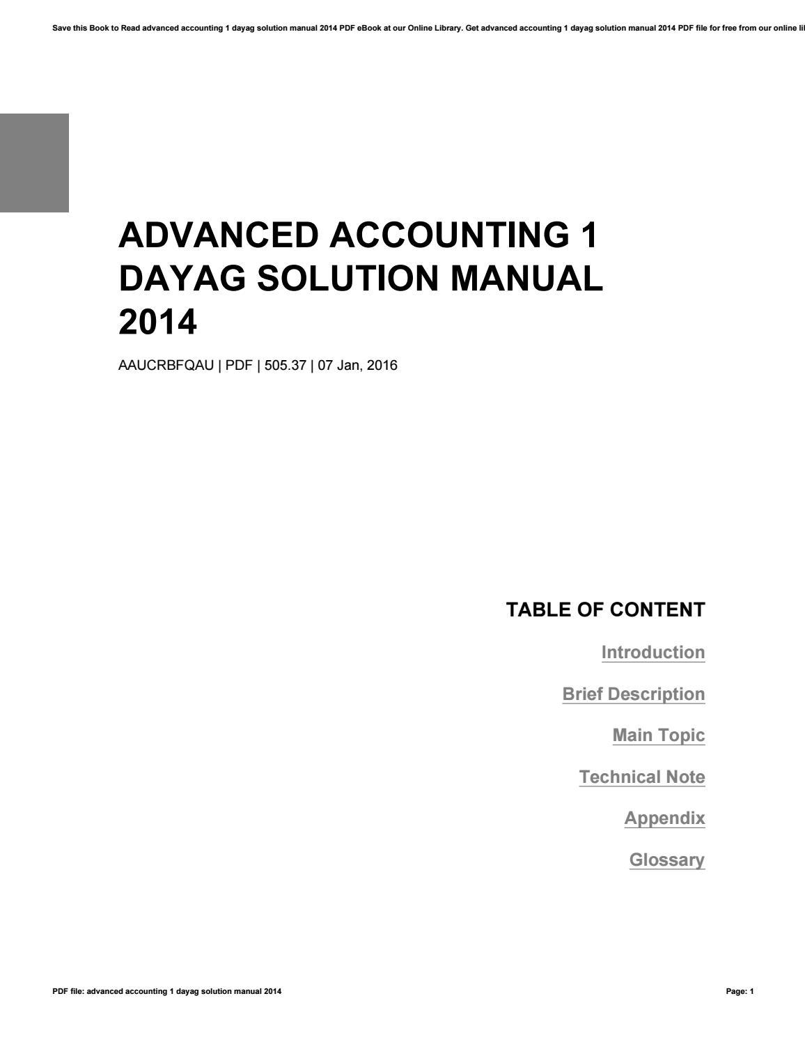 Bestseller: Advanced Accounting 2 Dayag Solution Manual 2017