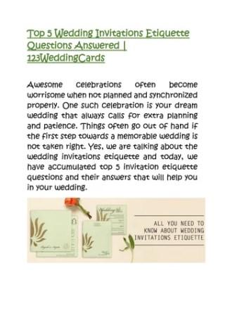 Top 5 Wedding Invitations Etiquette