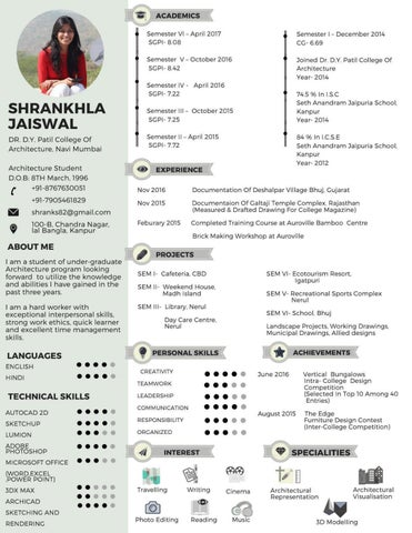 Resume And Architectural Portfolio By Shrankhla Jaiswal