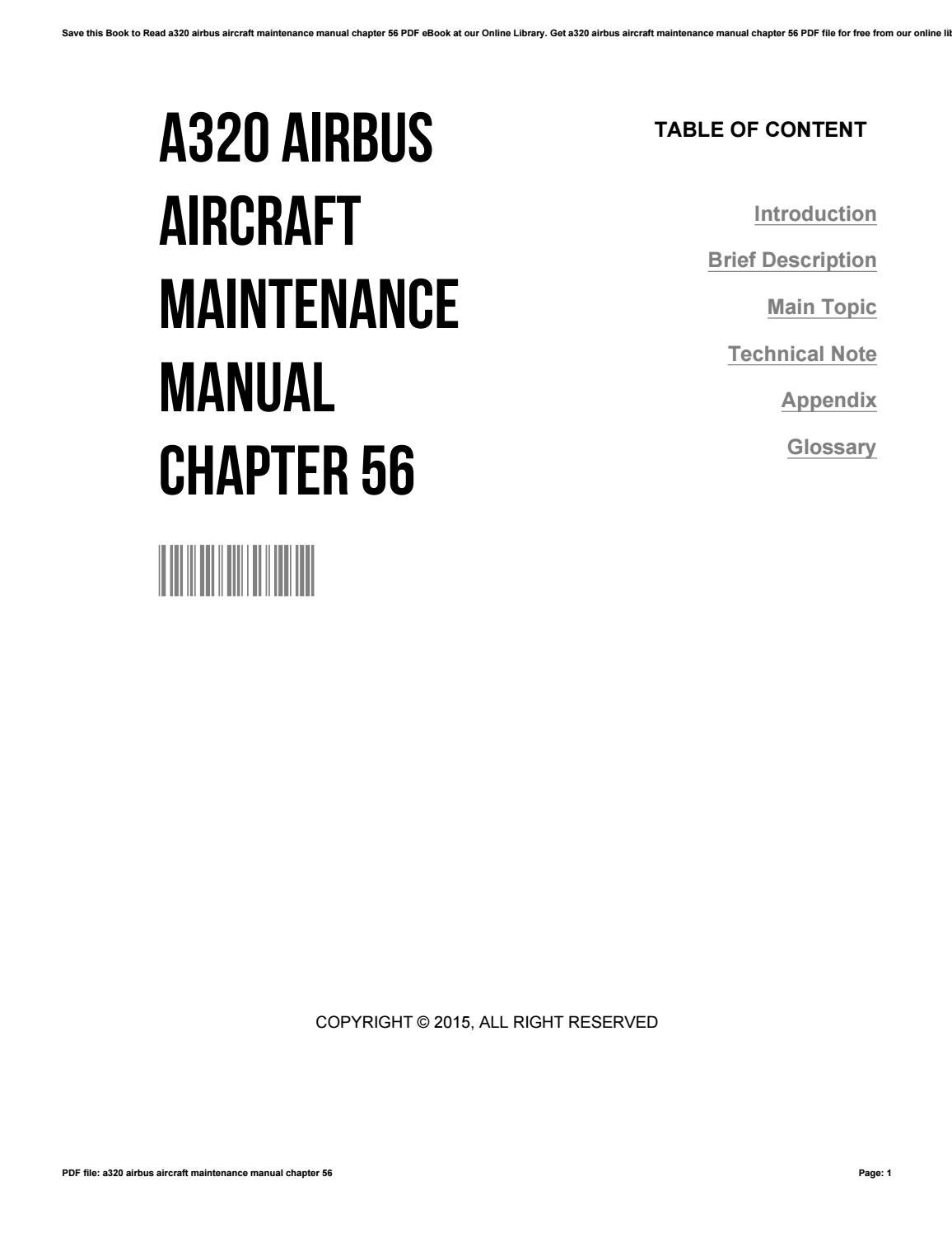 A320 airbus aircraft maintenance manual chapter 56 by