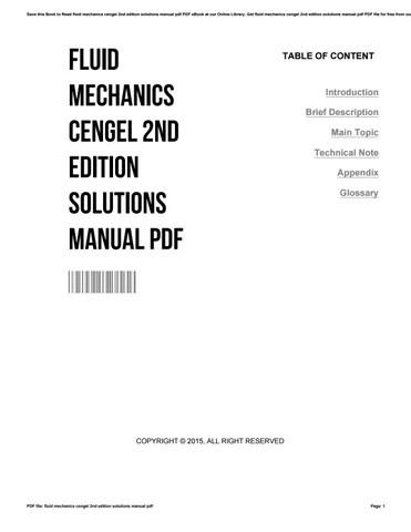 Fluid mechanics cengel 2nd edition solutions manual pdf by