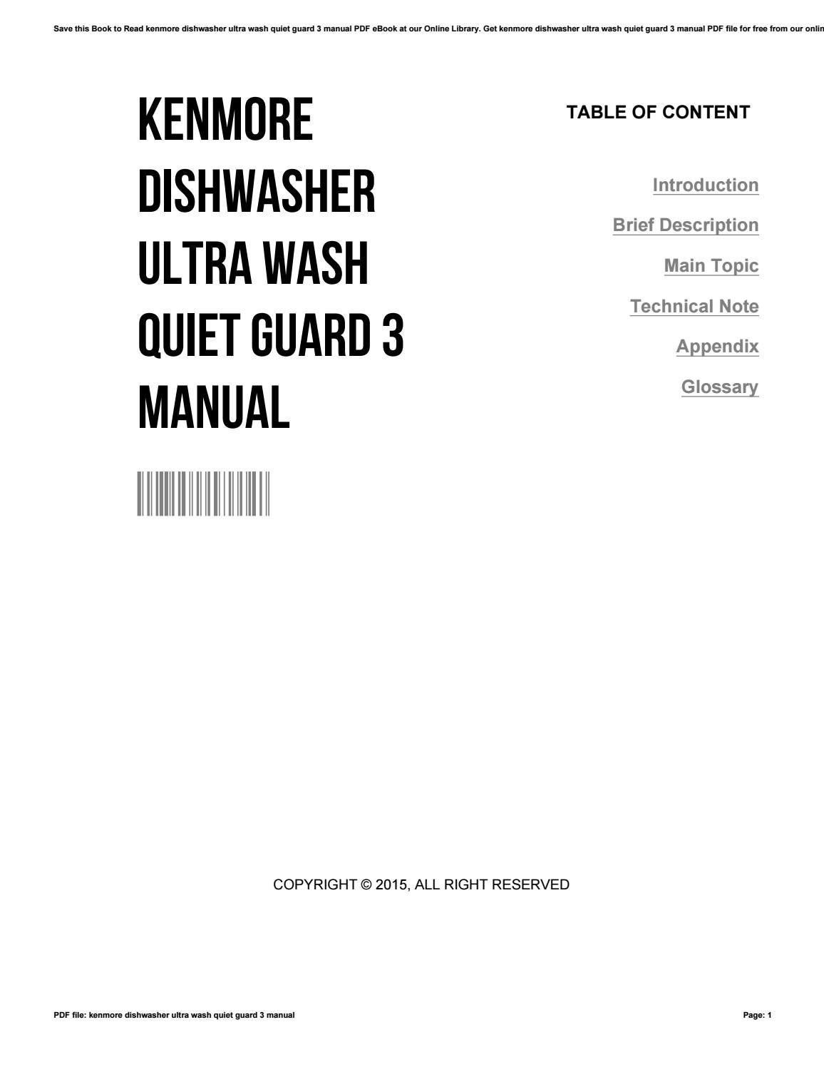 Kenmore dishwasher ultra wash quiet guard 3 manual by