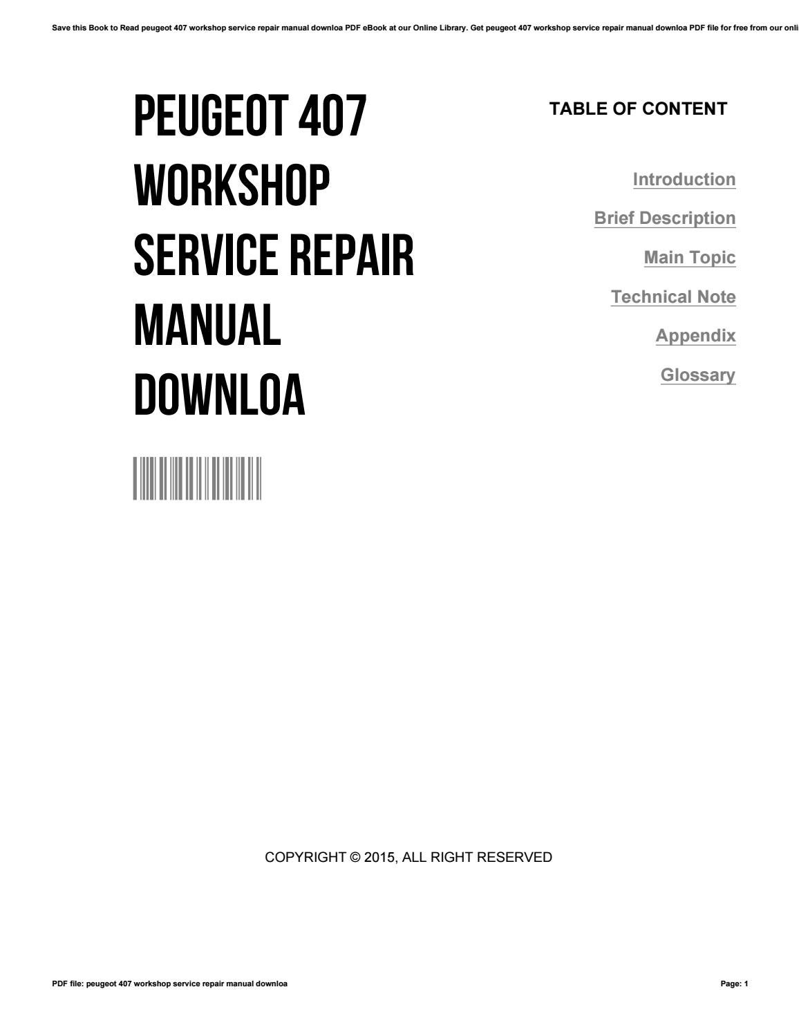 Peugeot 407 workshop service repair manual downloa by