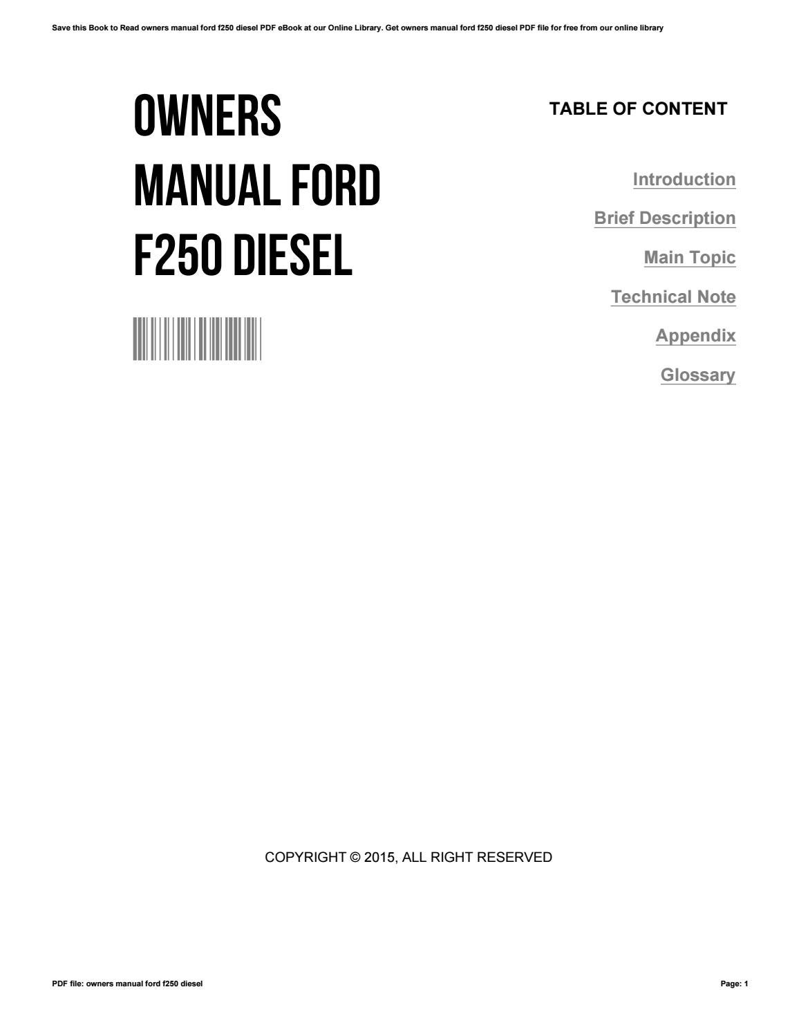 Owners manual ford f250 diesel by AdrienneNishimura2369