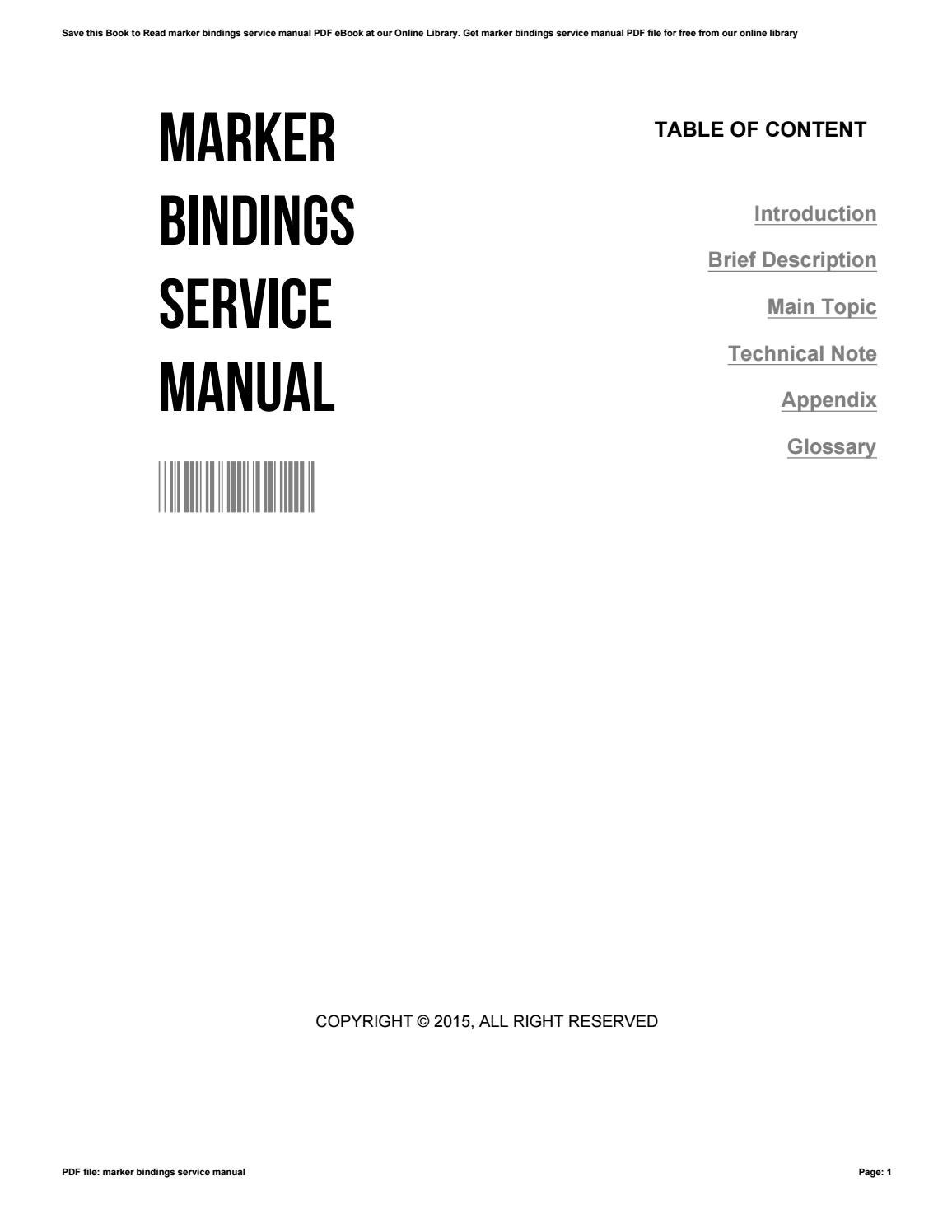 Marker bindings service manual by ChristinaMichaels3069