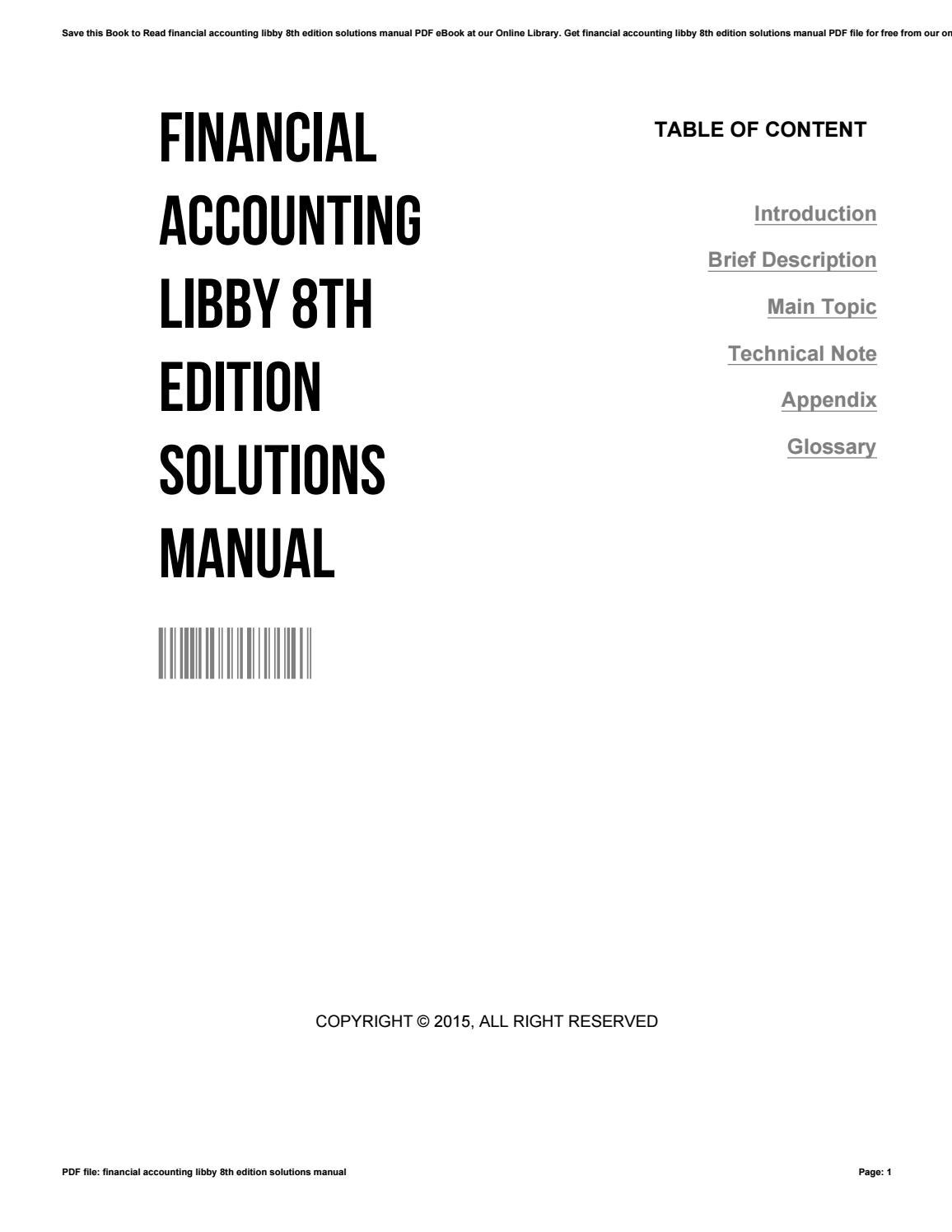 Financial accounting libby 8th edition solutions manual by