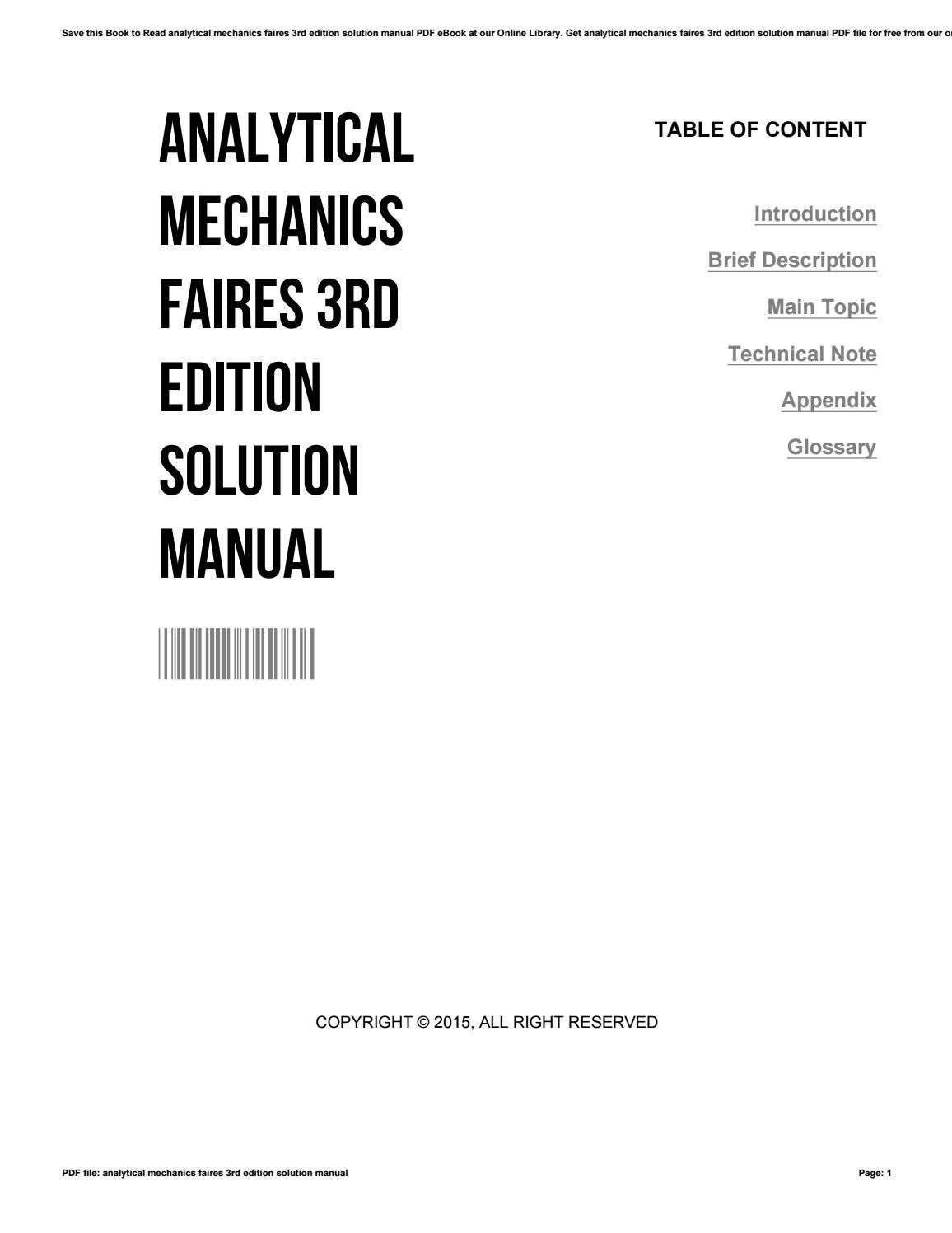 Analytical mechanics faires 3rd edition solution manual by