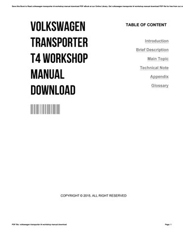 Volkswagen transporter t4 workshop manual download by