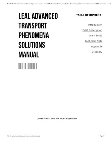 Leal advanced transport phenomena solutions manual by