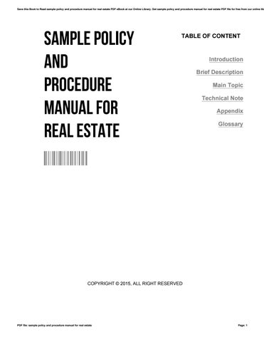 Sample policy and procedure manual for real estate by