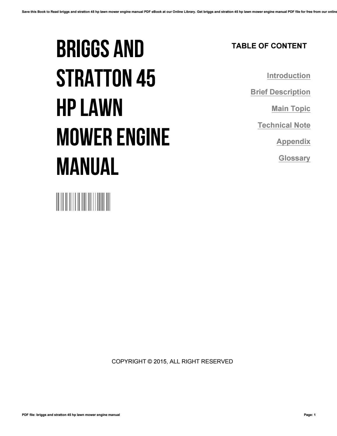 Briggs and stratton 45 hp lawn mower engine manual by