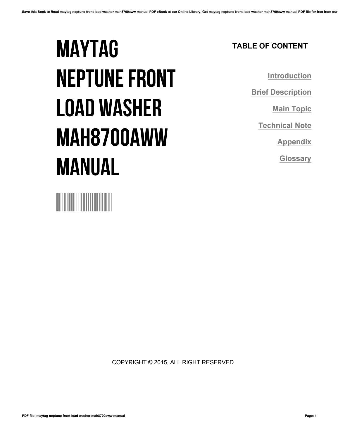 Maytag neptune front load washer mah8700aww manual by