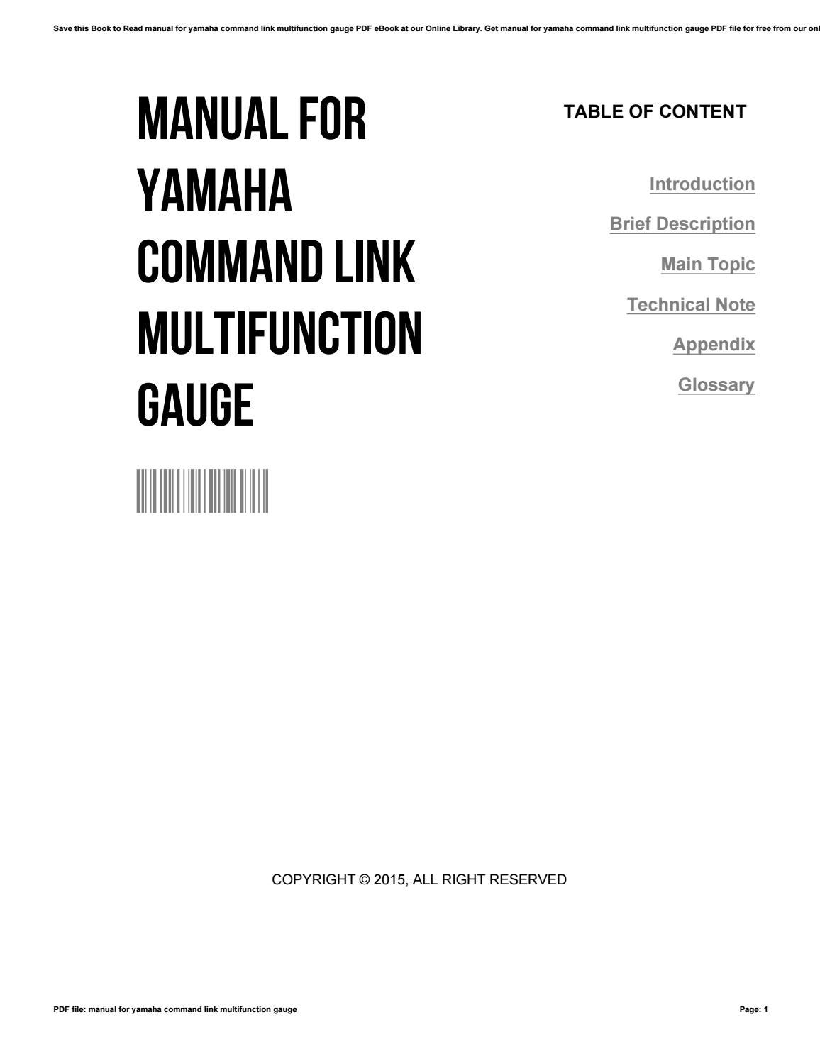Manual for yamaha command link multifunction gauge by