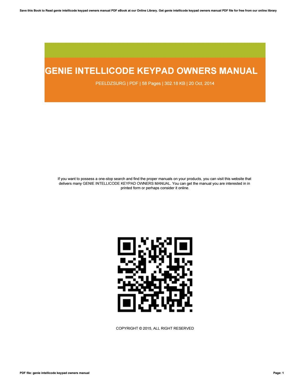 hight resolution of genie intellicode owner manual