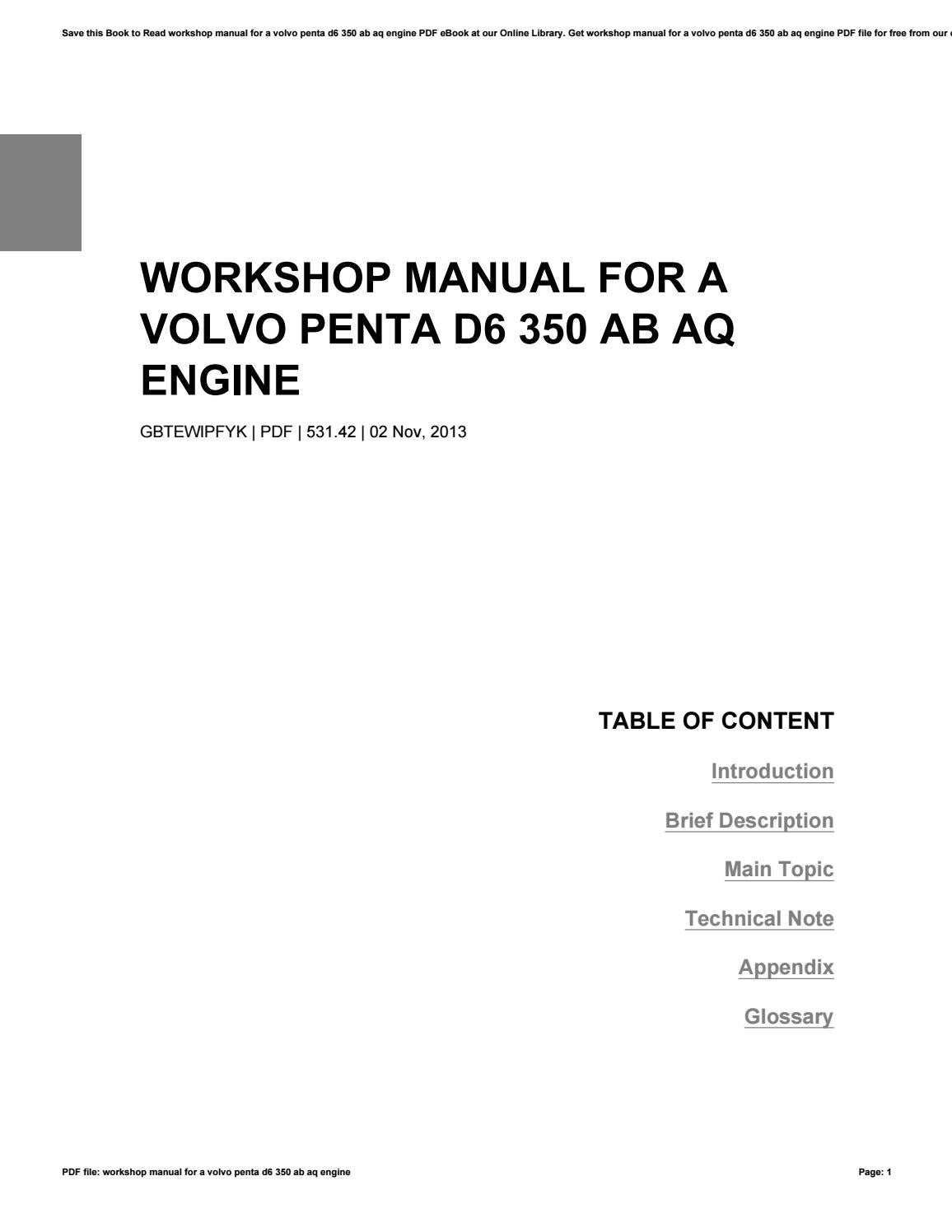 Workshop manual for a volvo penta d6 350 ab aq engine by