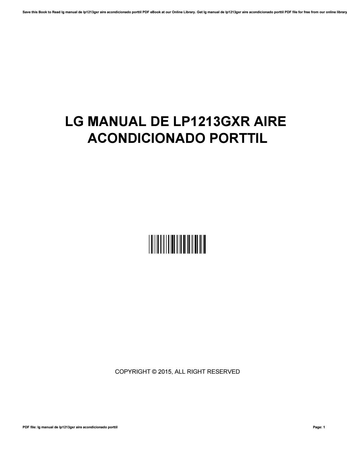 hight resolution of  array lg manual de lp1213gxr aire acondicionado porttil by jamiegorman3869 rh issuu com