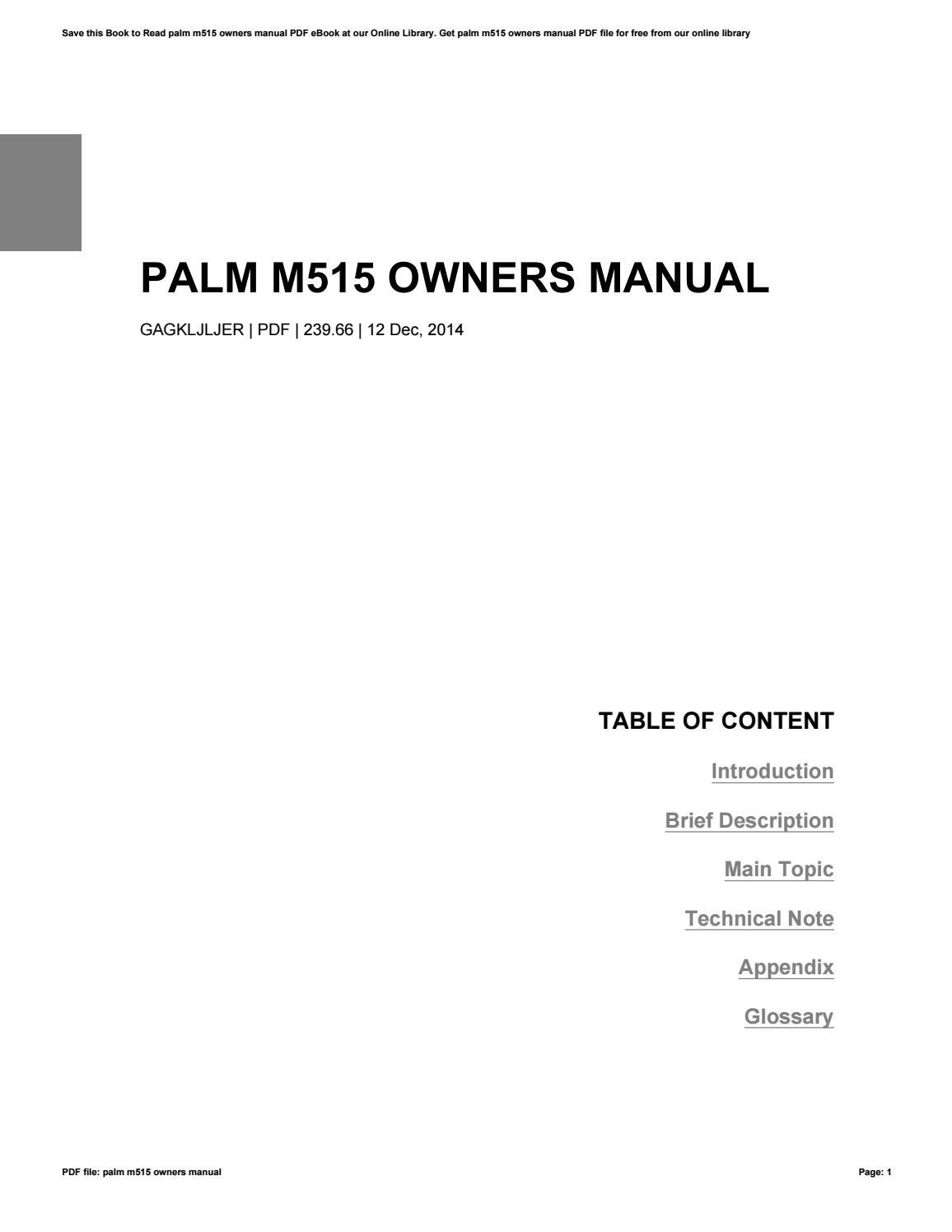 PALM M515 MANUAL DOWNLOAD