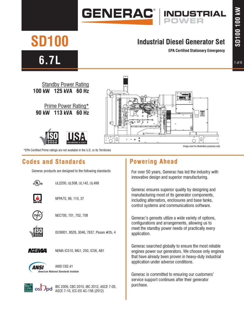 medium resolution of generac sd0100 spec sheet