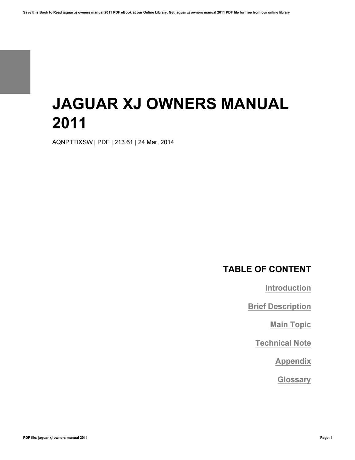 Jaguar Xj 2011 Owners Manual
