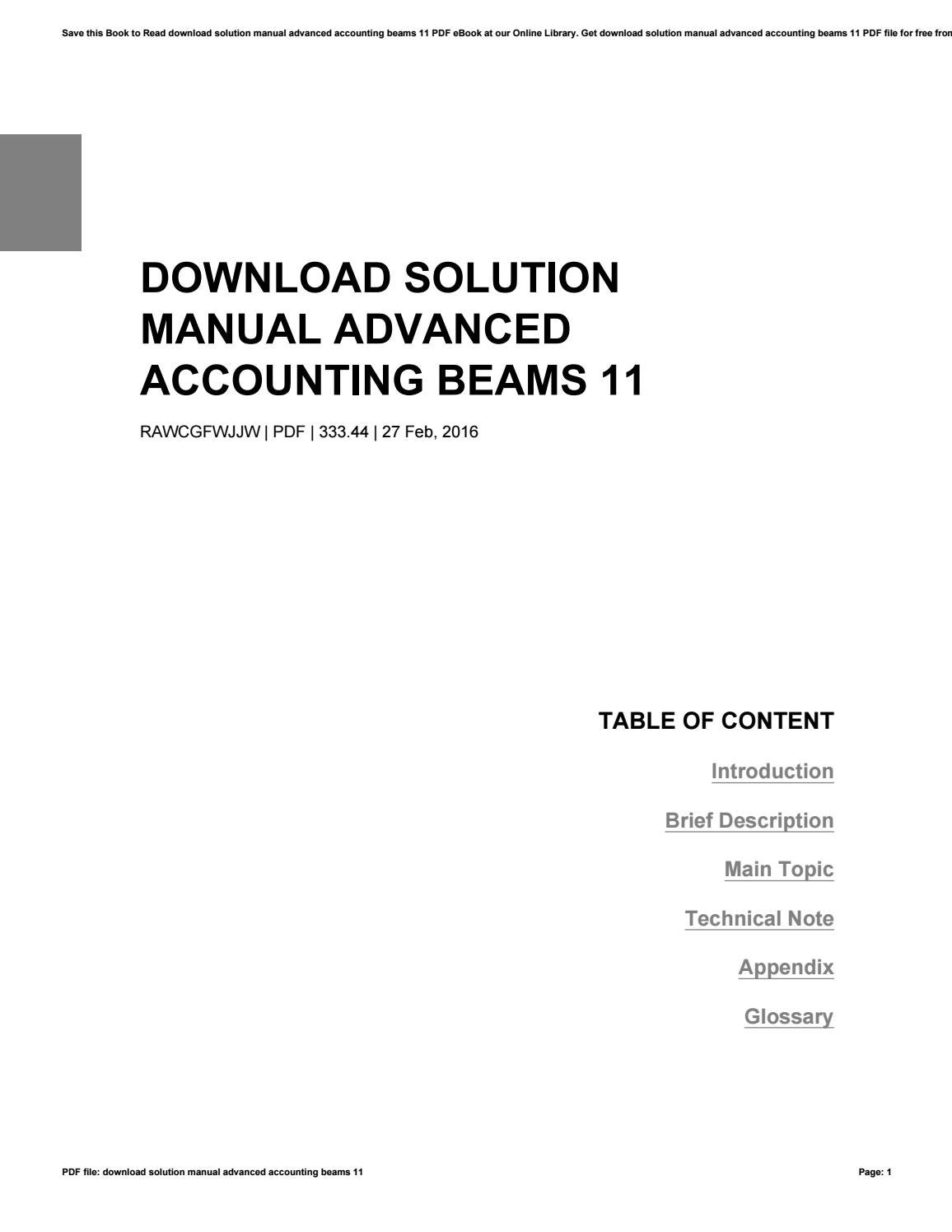 Download solution manual advanced accounting beams 11 by