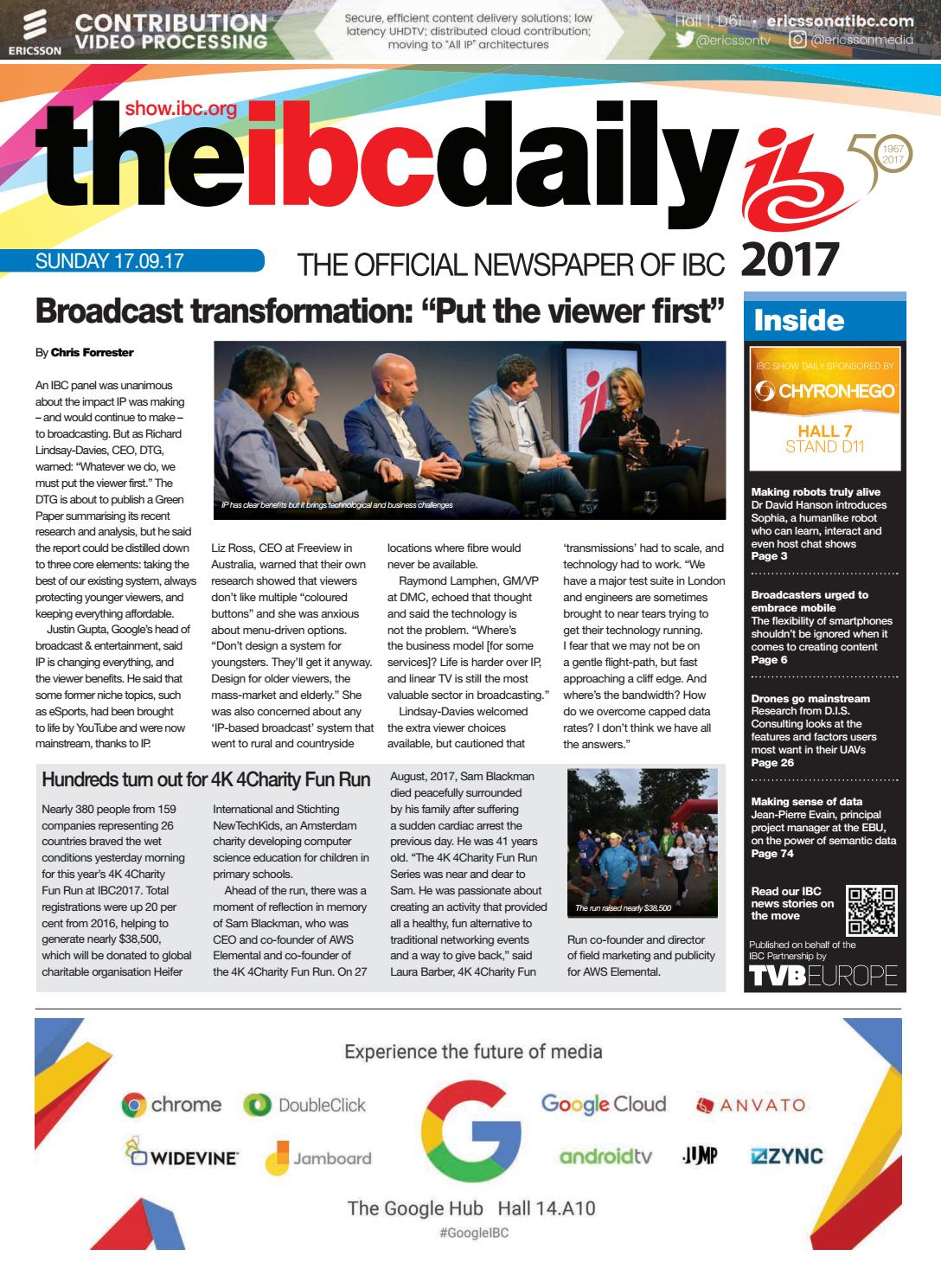 IBC2017 Daily D3 Sunday 17 September 2017 By Future PLC