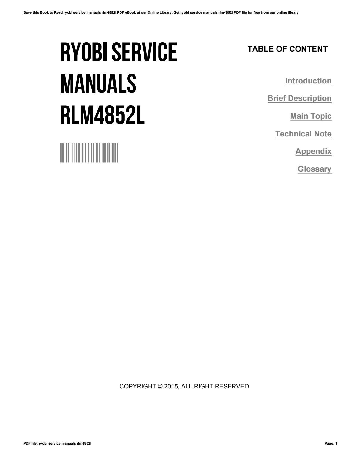 Ryobi service manuals rlm4852l by StephanieCharlebois1459