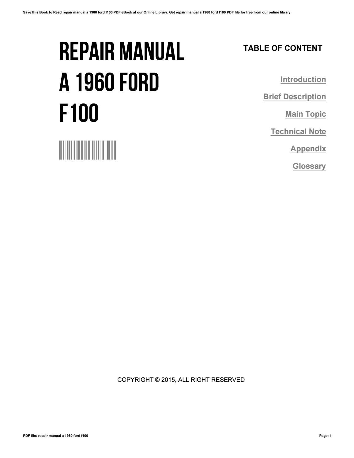 Repair manual a 1960 ford f100 by StephanieCharlebois1459