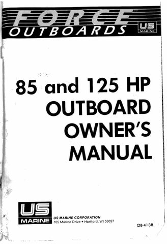 Mercury Force 85 & 125 HP outboard owners manual by