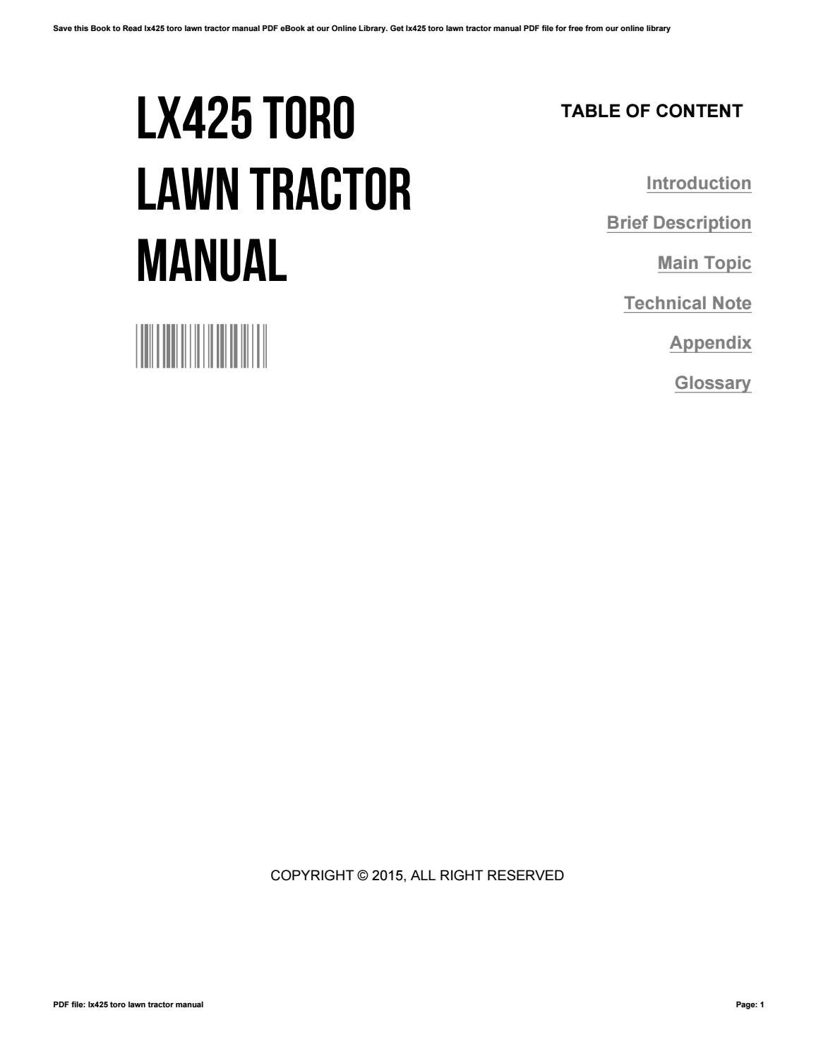 Lx425 toro lawn tractor manual by WilliamHuddleston2917