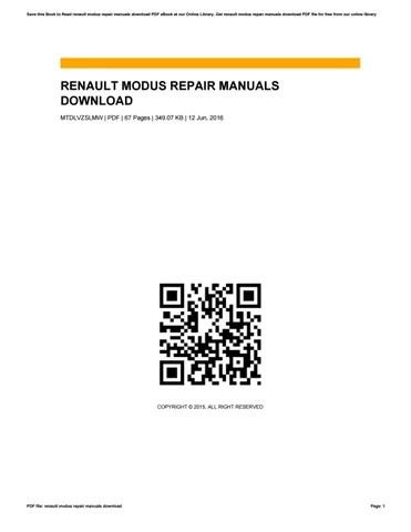 Renault modus repair manuals download by