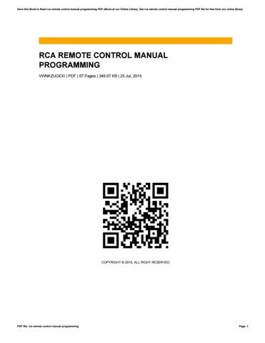 Rca remote control manual programming by ClaraCanchola4325