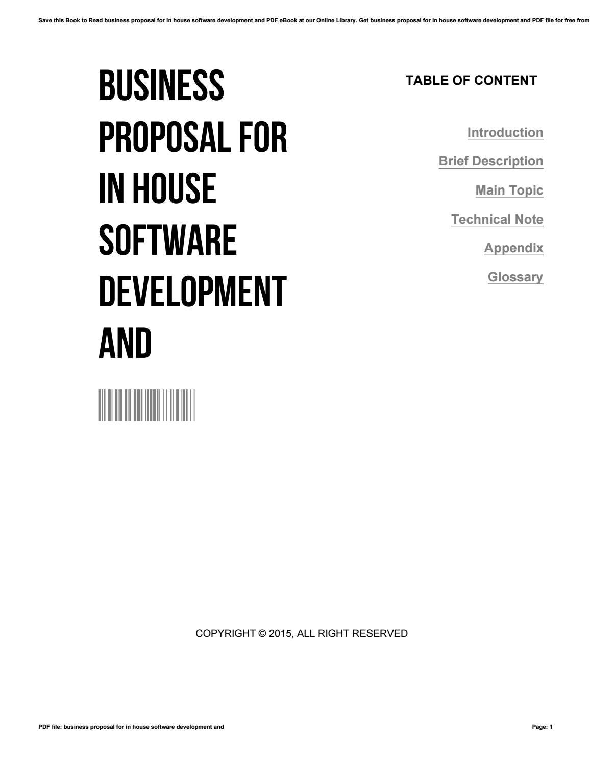 Business proposal for in house software development and by