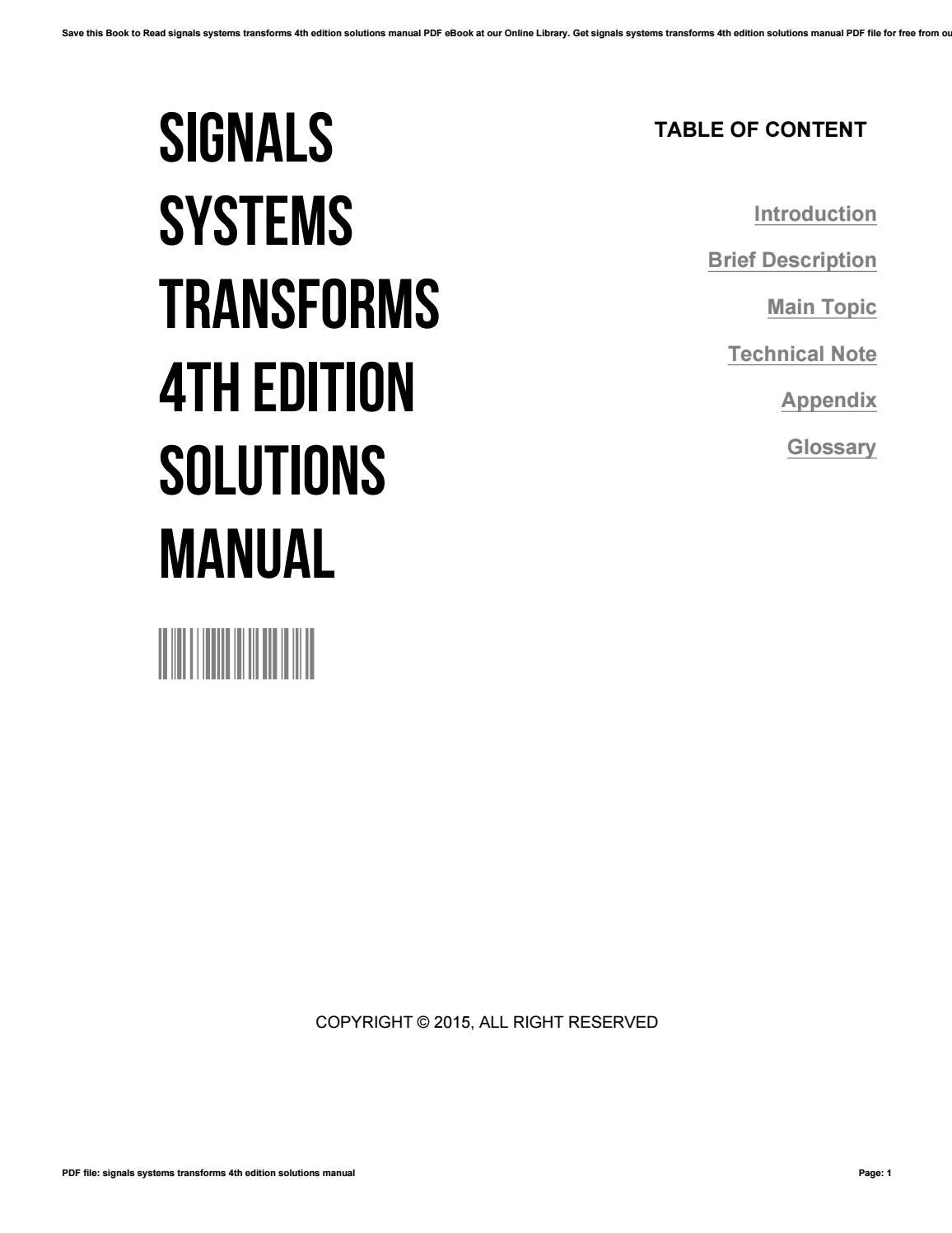 Signals systems transforms 4th edition solutions manual by